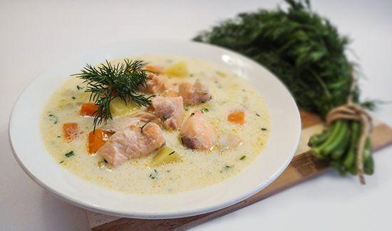 Рецепт Лохикейтто – сливочного финского супа из лосося (Creamy Salmon Soup–Lohikeitto) - лосось, порей, картофель, морковь, сливки