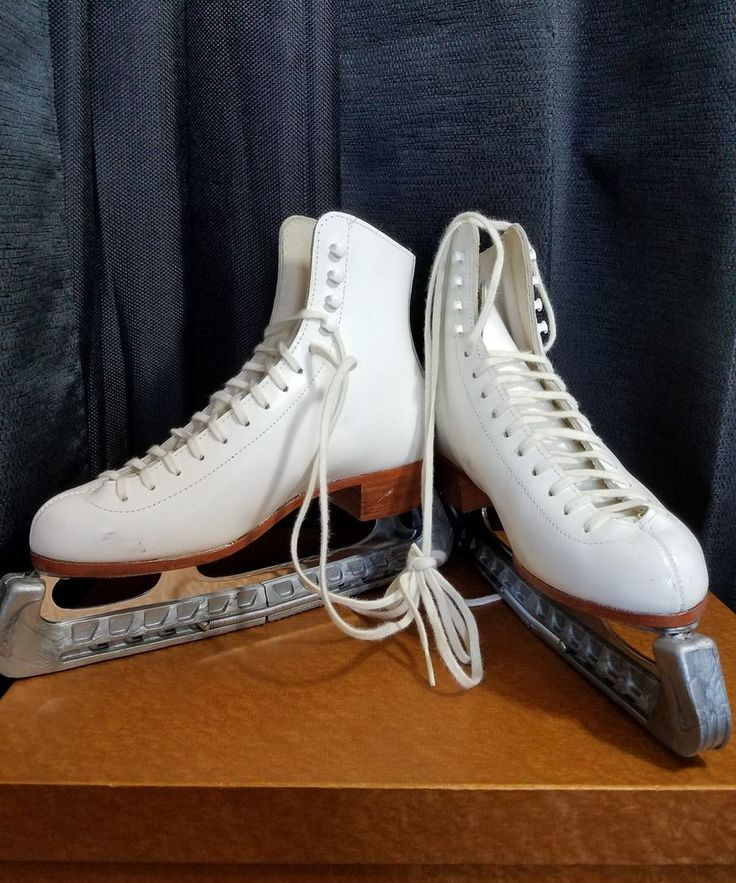 Riedell Ice Skate Boots 220W Size 6 John Wilson Excel Blades Blade Covers  #Riedell