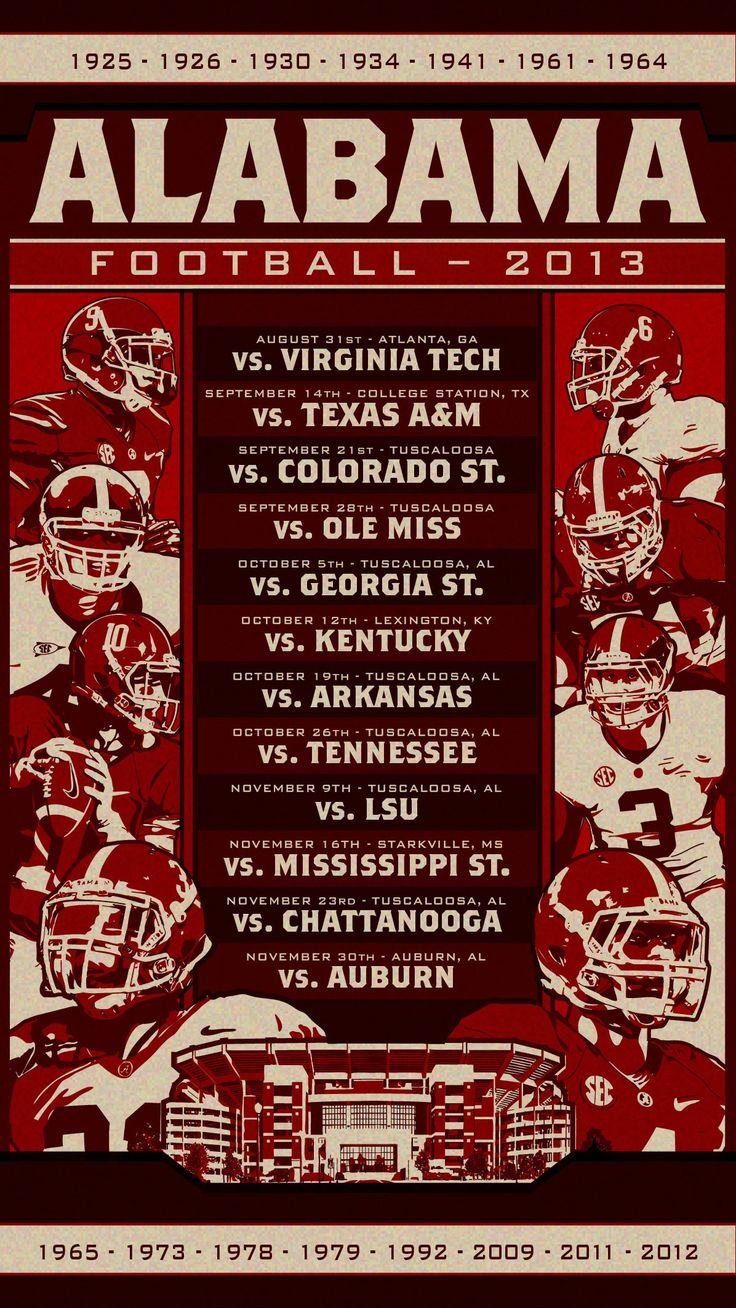 University of Alabama Crimson Tide football schedule 2013 :: design by Jake Andrews #rolltide