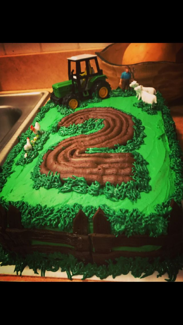 Peachy Tractor Farm Chocolate Layer Cake With Buttercream Frosting For Funny Birthday Cards Online Fluifree Goldxyz
