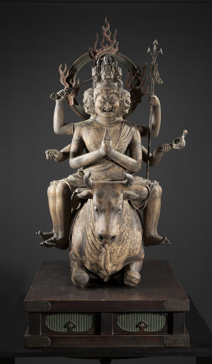 This unusually well-preserved life-size 13th-century wooden sculpture features a grimacing, multi-limbed Buddhist deity astride a kneeling bull. http://www.startribune.com/entertainment/stageandarts/210139451.html