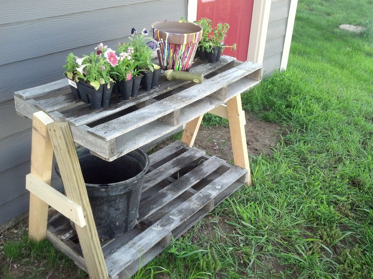 Pallet Planting/Gardening bench.  It's nothing fancy but it'll do for me!
