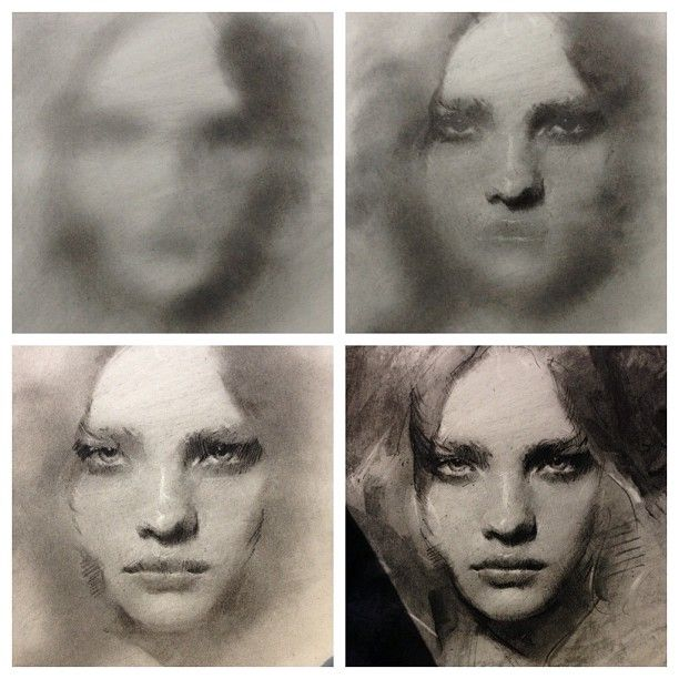 Charcoal stages by Casey Baugh