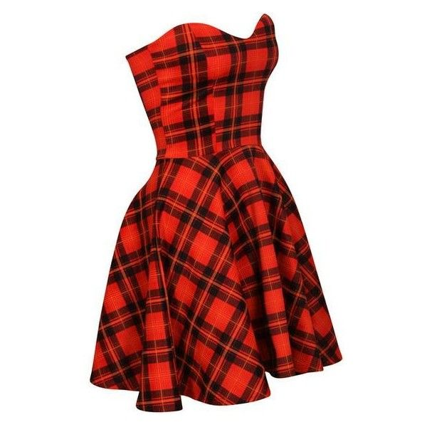 Strapless Tartan Skater Dress ❤ liked on Polyvore featuring dresses, red plaid dress, strapless dresses, sweetheart neckline strapless dress, sweetheart neckline dress and skater dress