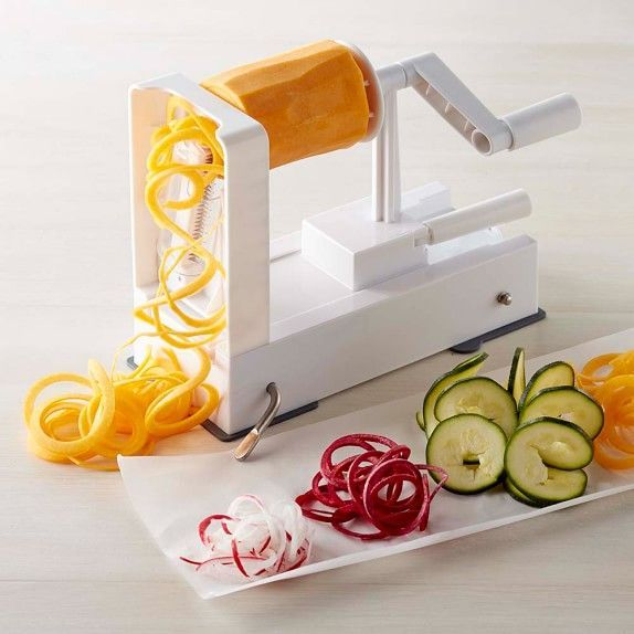 he Inspiralizer transforms vegetables and fruits into long noodles that are easy to toss into salads, pasta, soups, stir-fries and more. The simple-to-operate hand-cranked device produces four different types of noodles, and there's no need to change out blades—simply turn a knob to change the noodle shape.      Creates ribbon noodles, fettuccine, linguine and spaghetti-shaped noodles.     Four built-in stainless-steel blades allow you to change