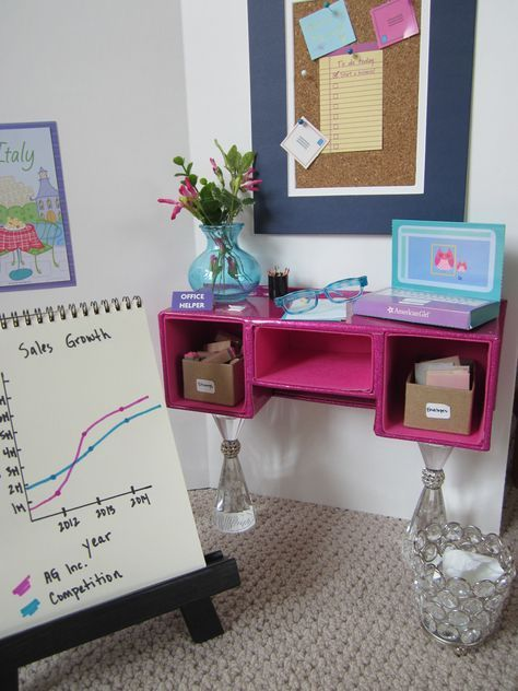 American Girl doll office desk, DIY bulletin board, and sales chart, office play scene