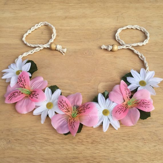 White and Pink Floral Crown Festival Headband by ZealandBoutique