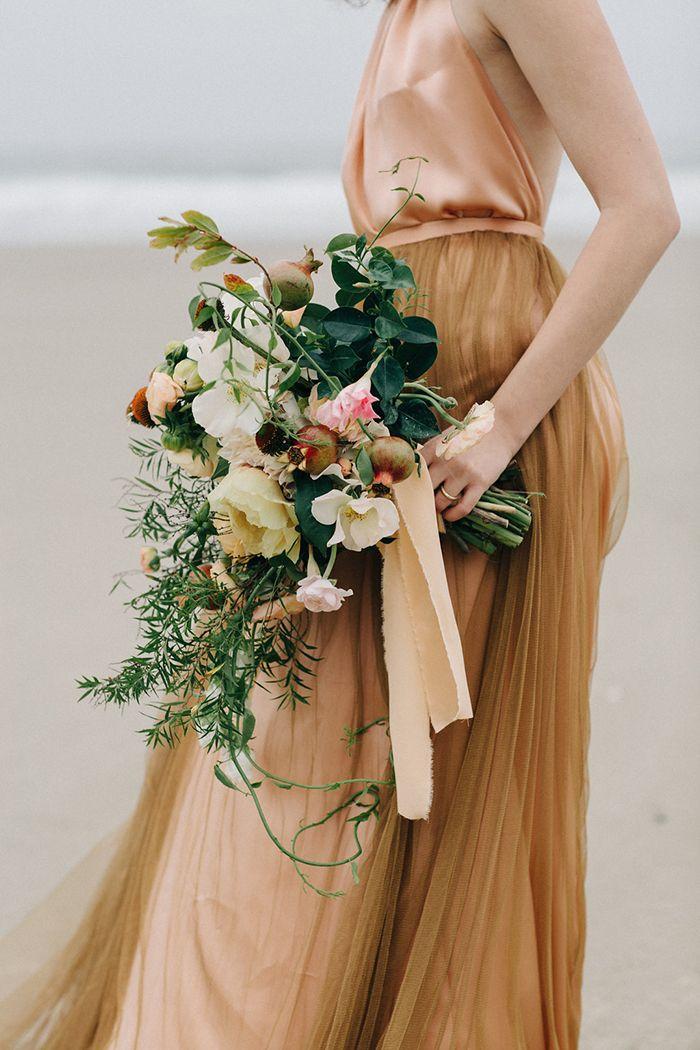 Gold, peach, bronze wedding inspiration.