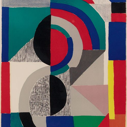 "Sonia Delaunay  ""Abstract Composition"" 1970; color lithograph."