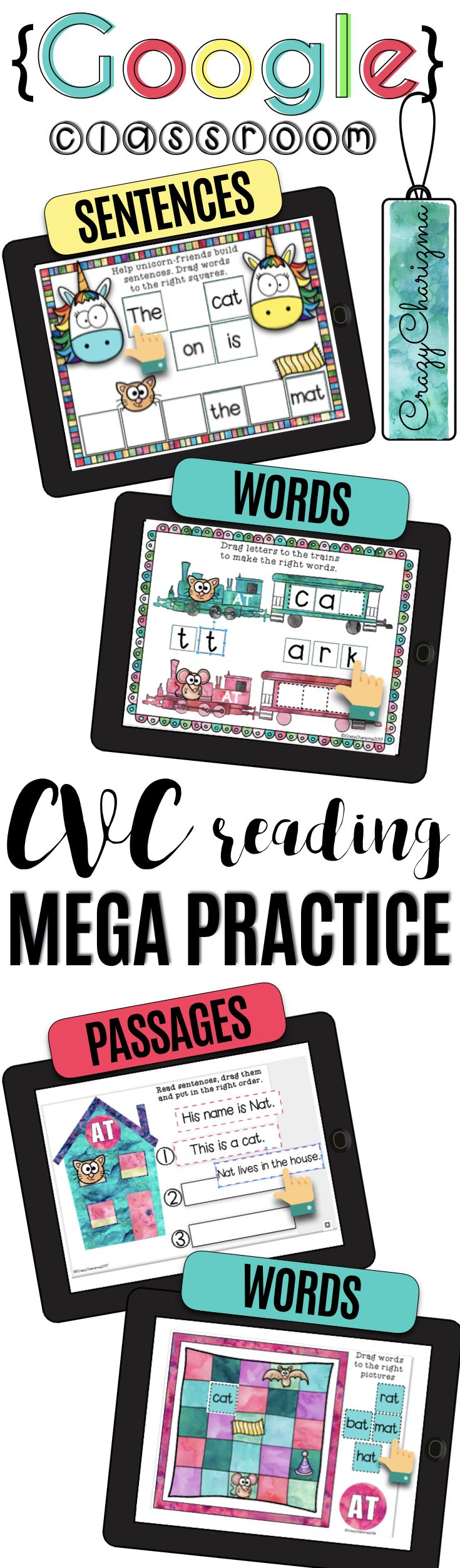 Have you been looking for fun 1:1 CVC word work activities to use in Google Classroom? Try this digital MEGA PRACTICE. Go paperless and embrace technology! Practice and review CVC words while reading words, sentences, and fluency passages. The packet is perfect for 1:1 classroom in kindergarten, first grade, as well as second grade. Perfect for your literacy block, daily 5, guided reading, spelling, RTI, or during literacy centers. | CrazyCharizma