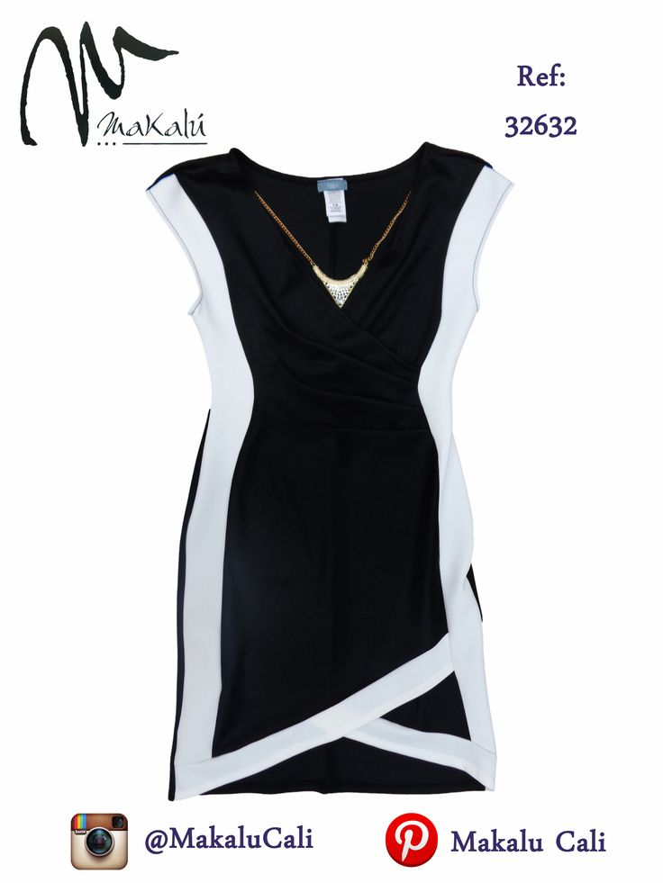Vestido blanco y negro con accesorio uncluido... #vestidos #Modafemenina  #ropaamericana #makalu #makalucali #fashion #trendy #tendencia