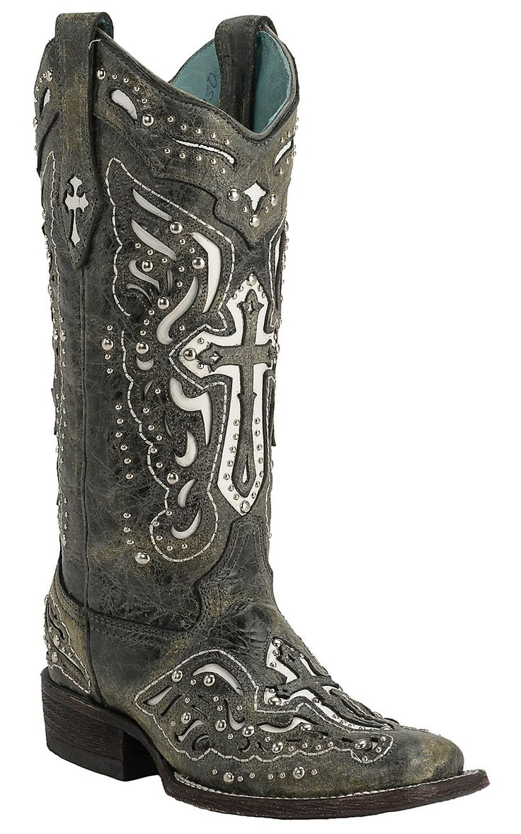 Corral® Women's Distressed Black with White Inlayed Winged Cross & Silver Studs Double Welt Square Toe Western Boots