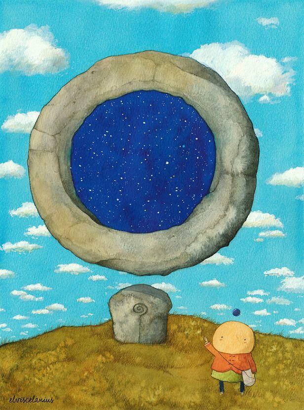 """Existe un anillo de piedra flotante que muestra en su interior, como una mágica ventana, un punto determinado y estrellado del espacio. Aquella estructura es la parte superior de un enorme báculo enterrado en la colina, que perteneció a un gigante ermitaño que emprendió su propio viaje hace ya miles de años atrás. Dicen que la región de estrellas que se ven, es la dirección hacia donde este ser partió. Eu, quiso conocer ese lugar, al que llaman """"La ventana de Olimbadá"""" (By Elviscelanius)"""
