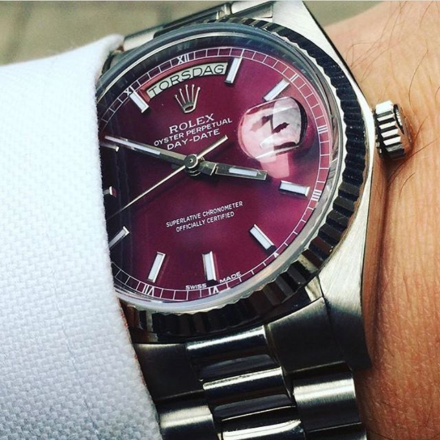 Rolex Day-Date Cherry Dial 👉Don't forget to follow us !!!👈 ⏰⌚️⌚️👉👉@watchsmugglers👈👈⌚️⌚️⏰ via: @lebenapproved #watchsmugglers #watches #watch #time #timeismoney #instawatch #watchporn #dailywatch #lovewatches #dope #watchaddict #patekphilippe #rolex #tissot #hublot #breitling #longines #cartier #follow #f4f #followme #followforfollow #follow4follow #followalways #followback #follower #following #likeforlike #like4like #s4s