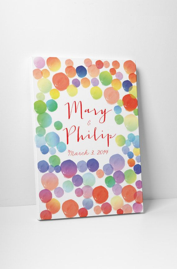 Watercolor Wedding Guestbook  rainbow circles print on canvas 100 sign. Choose your color and number of ballons on Etsy, $117.84