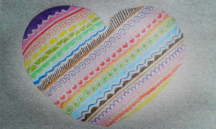 Rainbow zentangle heart