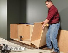 Want to build your own kitchen cabinets? Why not? Face frame cabinets are just plywood boxes with hardwood face frames, and you can buy doors (the hard part) online.