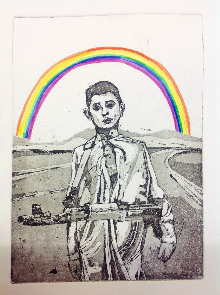 the Rainbow, etching, aquatint by Laura Casas Valle