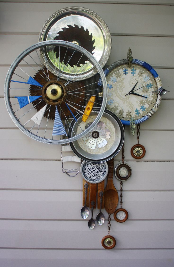 Recycled Art Recycled Materials Except For Clock
