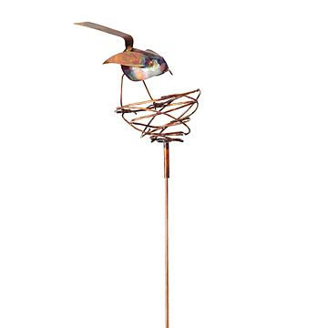 Look what I found at UncommonGoods: Bird and Nest Copper Garden Stake for $88 #uncommongoods