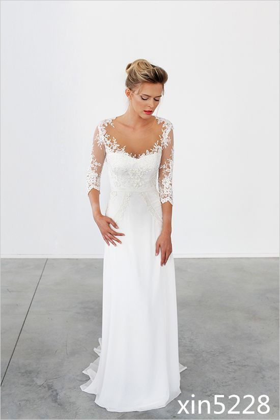 Bohemian Wedding Dresses Long Train A-Line Beach Chiffon 3/4 Sleeve Bridal Gowns