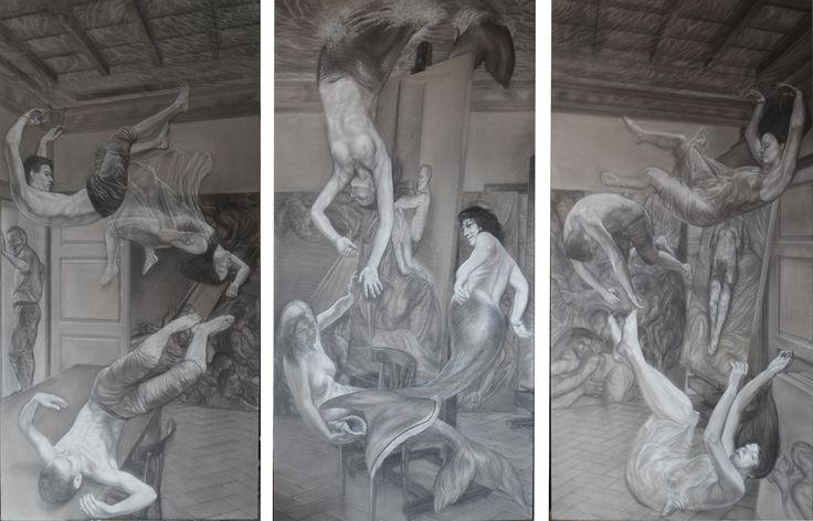 MYTHICA MONSTRA ET VANAE SPES trittico cm 300x200