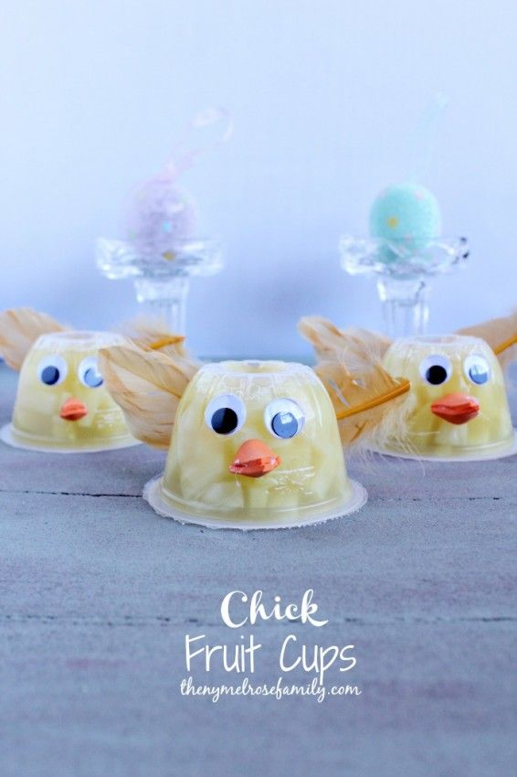 Chick Fruit Cups yellow feather googly eyes and orange beak