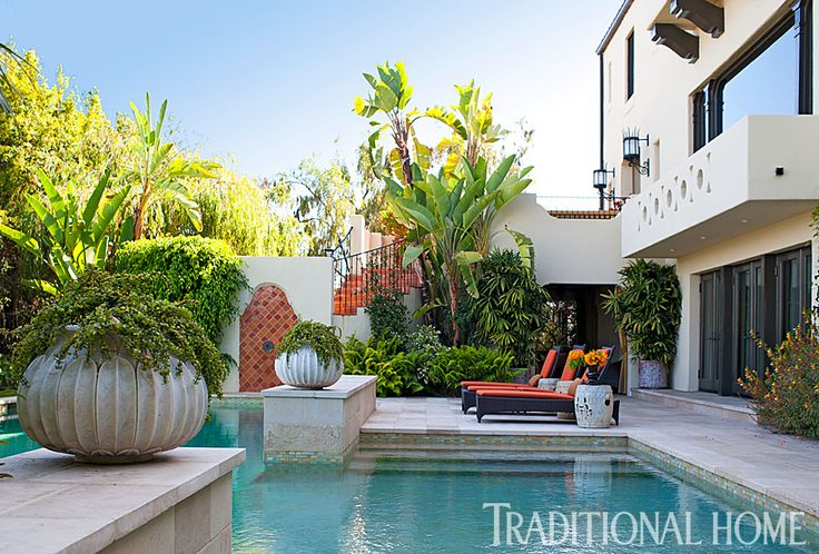 Cushions On The Pool Loungers Accent The Terra Cotta Tiles Photo Michael Garland Design