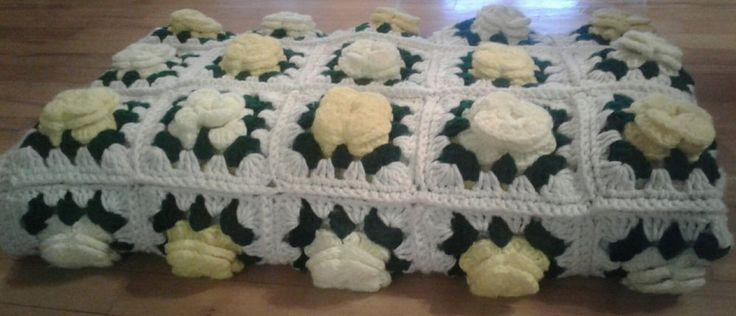 Crochet Afghan Throw Blanket 64 x 52 Inches Raised Flowers | eBay