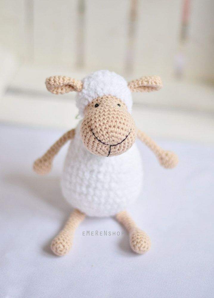 Sheep Amigurumi, Crochet Sheep, Super Soft, Super cute, crochet softie, crochet animal, stuffed toy, holiday gif - Polly the Lamb by EMERENstore on Etsy