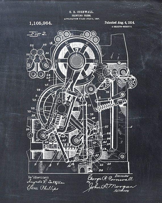 Imprenta patente 1914 - impresión del arte de patentes - patente Poster - Vintage arte - Steampunk