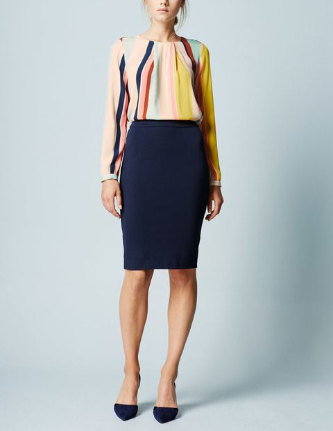 Boden Striped Top & Pencil Skirt - modern classic business casual