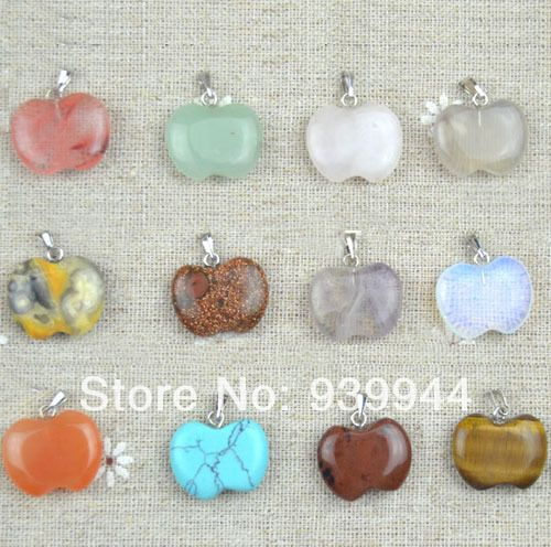 Free Shipping,wholesale 12PCS apple natural crystal pendant, Good Quality!Charms fit Necklaces jewelry making