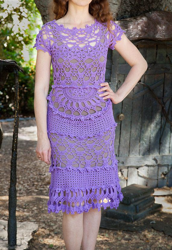This dress was crocheted from natural yarn (60% cotton 40% linen), size XS-S (USA). Length - 118cm ( 47in).  The item from the picture was sold. I will make the same dress for order for 3-4 weeks. The underdress you see here is not for sale. I can make the suitable color underdress for + $20.  How to care: Gentle hand wash in warm water with a mild detergent. Do not change the water temperature when you rinse out the soap. Let it dry. Iron with steam if it's necessary.  Thank you for…