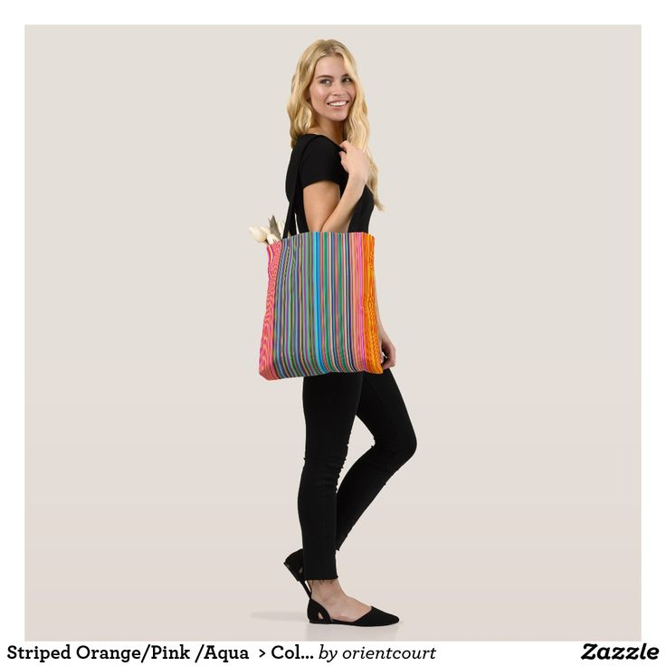Striped Orange/Pink /Aqua  > Colourful Tote Bag