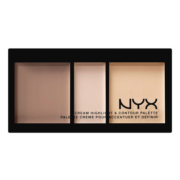 NEW! NYX Cream Highlight & Contour Palette $15 Say hello to the cheekbones you never knew you already had! Our new Cream Highlight & Contour Palette contains three silky shades that work together to help you highlight, contour and illuminate your most beautiful natural features.It comes in three shades this is their light.