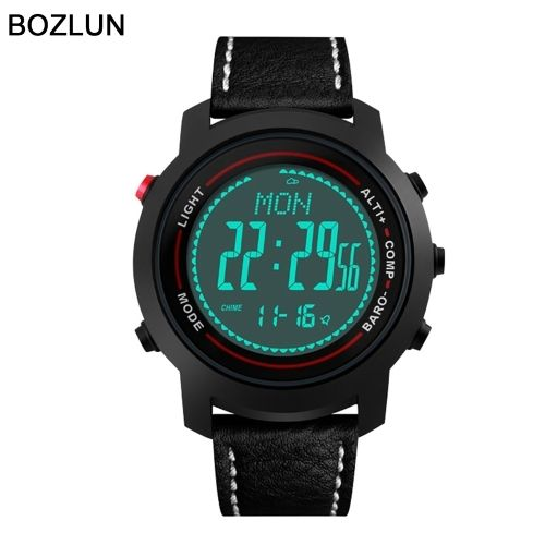 97.13$  Watch now - http://aik65.worlditems.win/all/product.php?id=J1494B - BOZLUN Luxury Brand Man Watch Sport Digital Men Watches Genuine Leather 50m Water Resistant EL Back Light Display Barometer Compass Altimeter Thermometer Stopwatch Pedometer