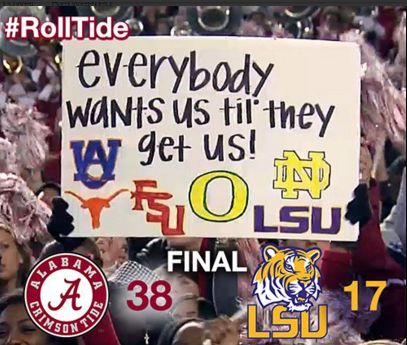 Everybody Wants Bama! provided by ThereIsaidIt ‏@ elizsim1 on Twitter. ~ Check this out ~ RollTideWarEagle.com for Infotainment, SEC Football stories that inform and entertain, Scores, Rosters, and Football Rules Tutorial. FREE! #Alabama #Bama #CFB #RTR #RollTide