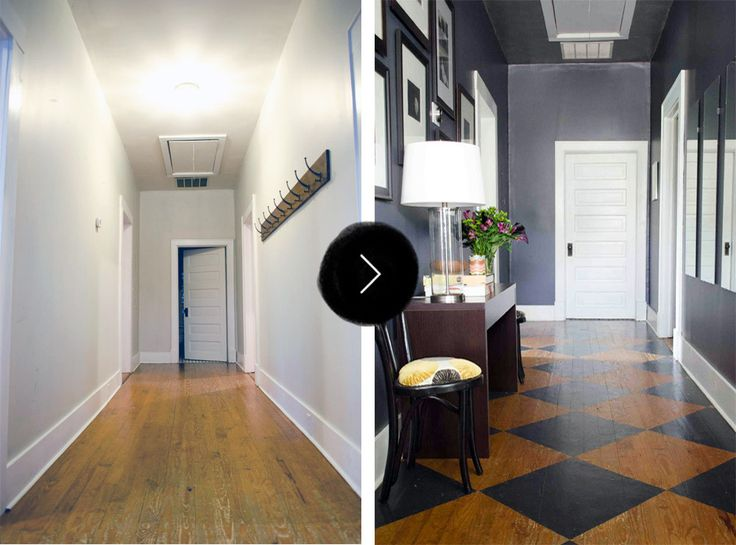 Before & After: A Cozy and Sophisticated Bungalow for Dad | Design*Sponge...When Kevin first saw the home, he felt the entry felt more like a hallway and less like a welcoming space in which to arrive. The wall hooks were the first things to go – he wanted it to be a landing pad, but not a dumping ground!