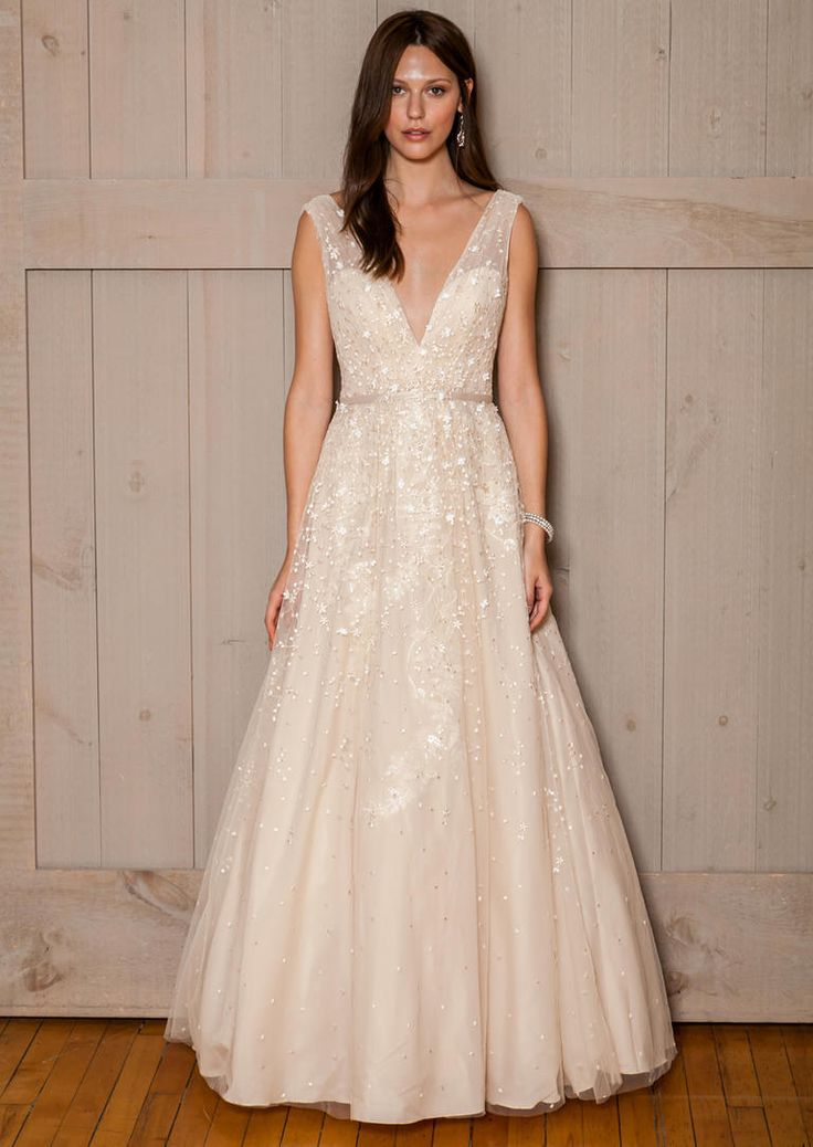David's Bridal Fall 2016 champagne v-neck wedding dress with beading | https://www.theknot.com/content/davids-bridal-wedding-dresses-bridal-fashion-week-fall-2016