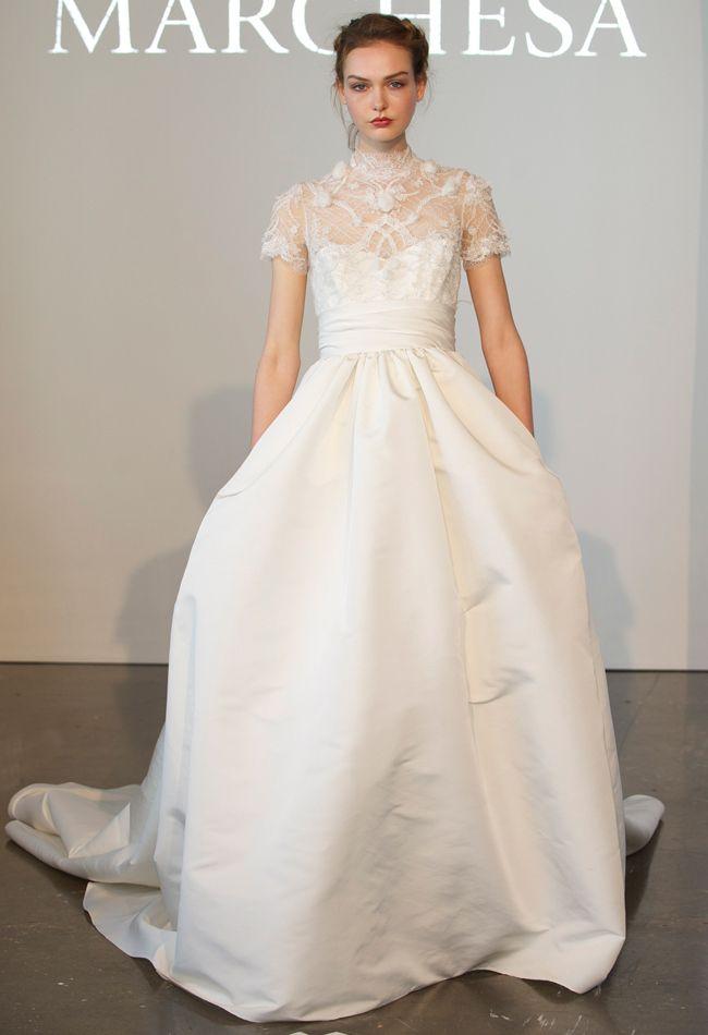 Chantilly Lace High Neck Ball Gown Wedding Dress With Pockets | Marchesa Spring 2015 | Kurt Wilberding | The Knot Blog