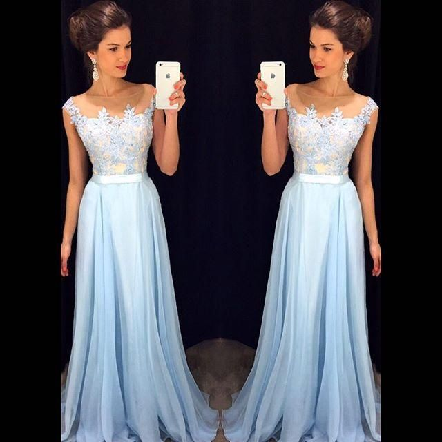 Lace Prom Dresses,Light Sky Blue Prom Dress,Modest Prom Gown,A Line Prom Gown,Lace Evening Dress,Chiffon Evening Gowns,Lace Party Gowns PD20185088