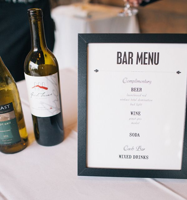 wedding decor bar menu jenafer brown designs