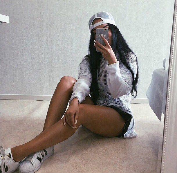 Adidas, красота, чёрный, чёрные волосы, мода, волосы, прическа, iphone, макияж, ногти, качественно, стиль, Tumblr, tumblr девушки, белый