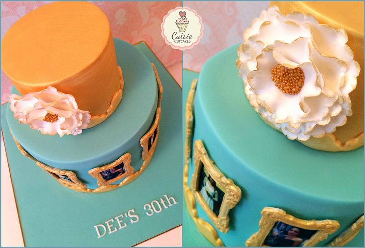 A 30th Birthday Cake in Turquoise and Gold. Each momentous event the customer has had has been mounted on the cake in beautiful Gold Vintage Frames. The cake is Vanilla with Chocolate Buttercream #cutsiecupcakes #staines #vintagecake #ruffles