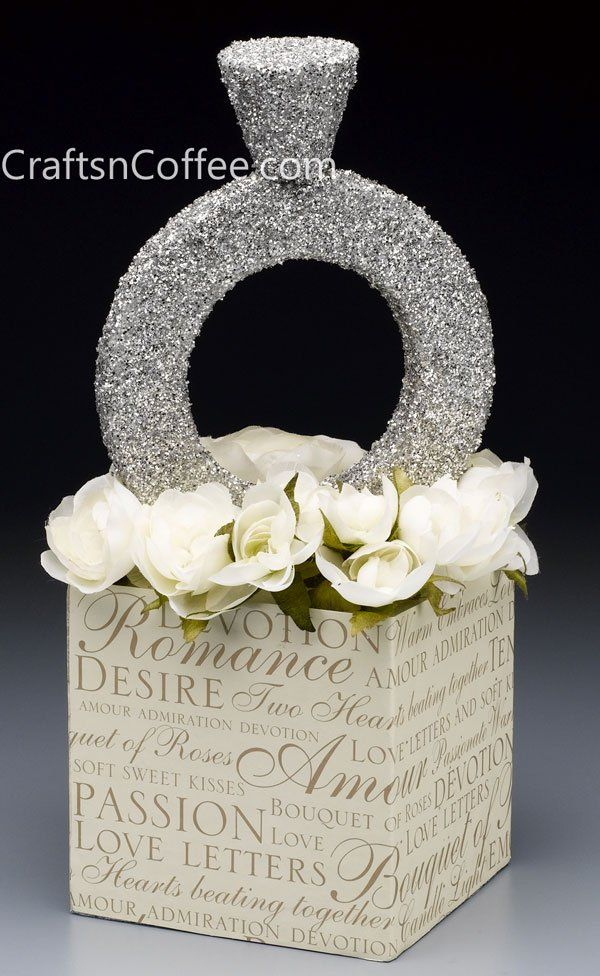 Super-bling diamond ring! What a fun centerpiece for a bridal shower!