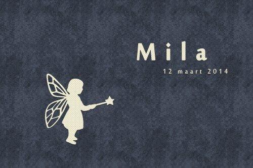 Geboortekaartje meisje - Fee - Pimpelpluis - https://www.facebook.com/pages/Pimpelpluis/188675421305550?ref=hl (# simpel - eenvoudig - retro - naam - origineel - blauw - wit - elfje - fee - fairy - silhouette)