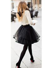 Envío gratis negro Sexy corto Tutu tul falda 5 capas hinchados una línea corta partido de la falda de Tulle moda faldas faldas elegantes(China (Mainland))