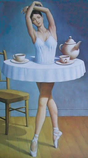 This is so cool.  Rafal Olbinski (Polish artist) via @kamarobb78. #ballet #art
