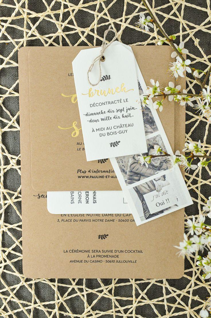 Invitation de mariage de pays avec bande de photo, étiquette de brunch, invitat…